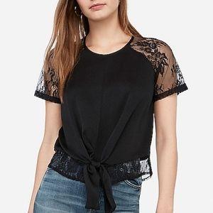 Satin lace tie front top